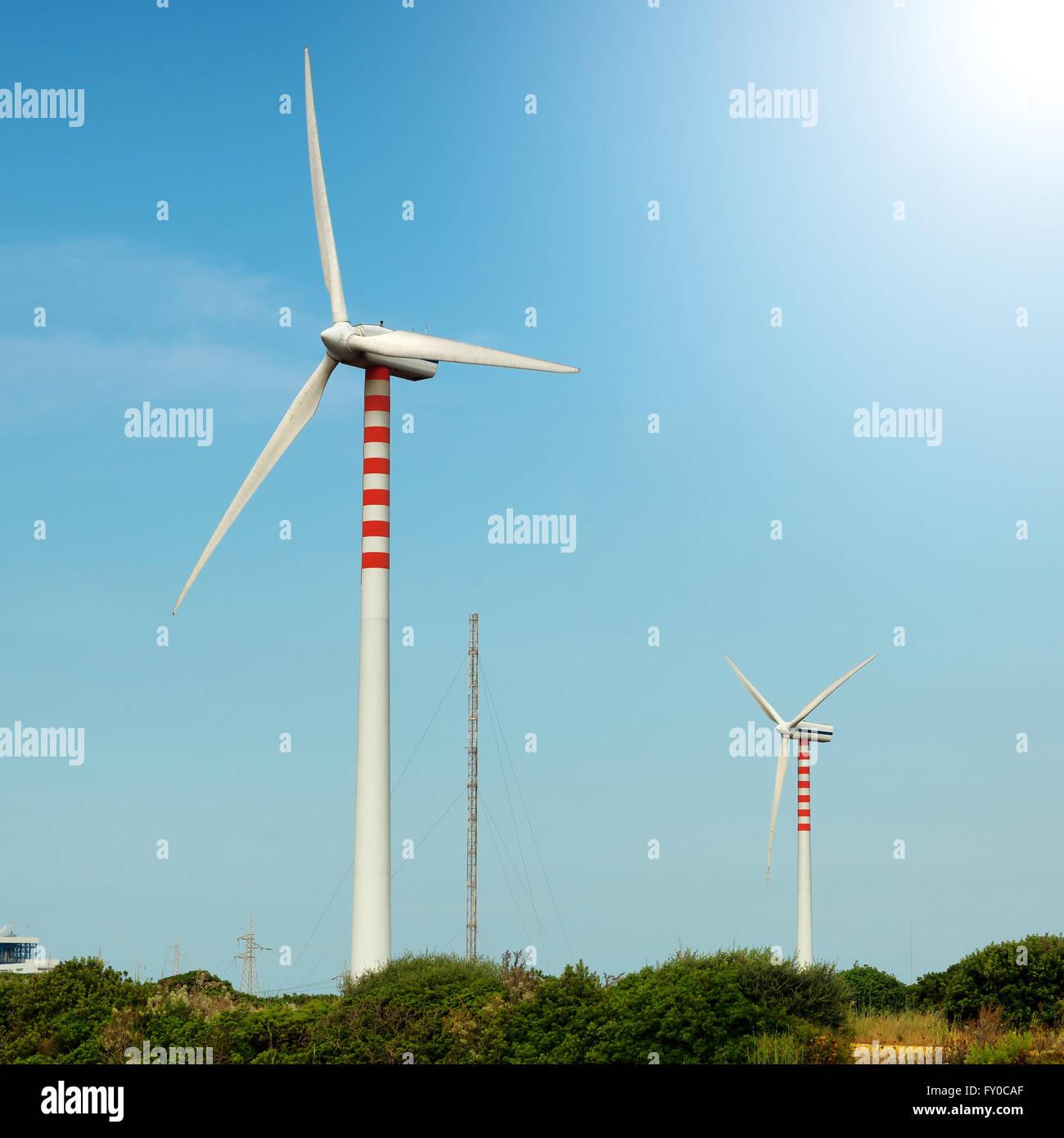 wind turbine power generators - Stock Image