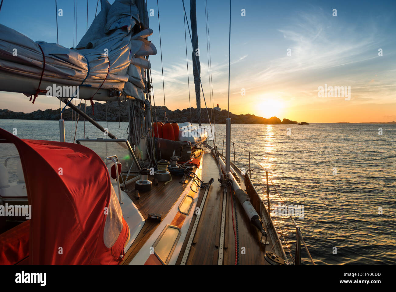 sunset from sail boat - Stock Image
