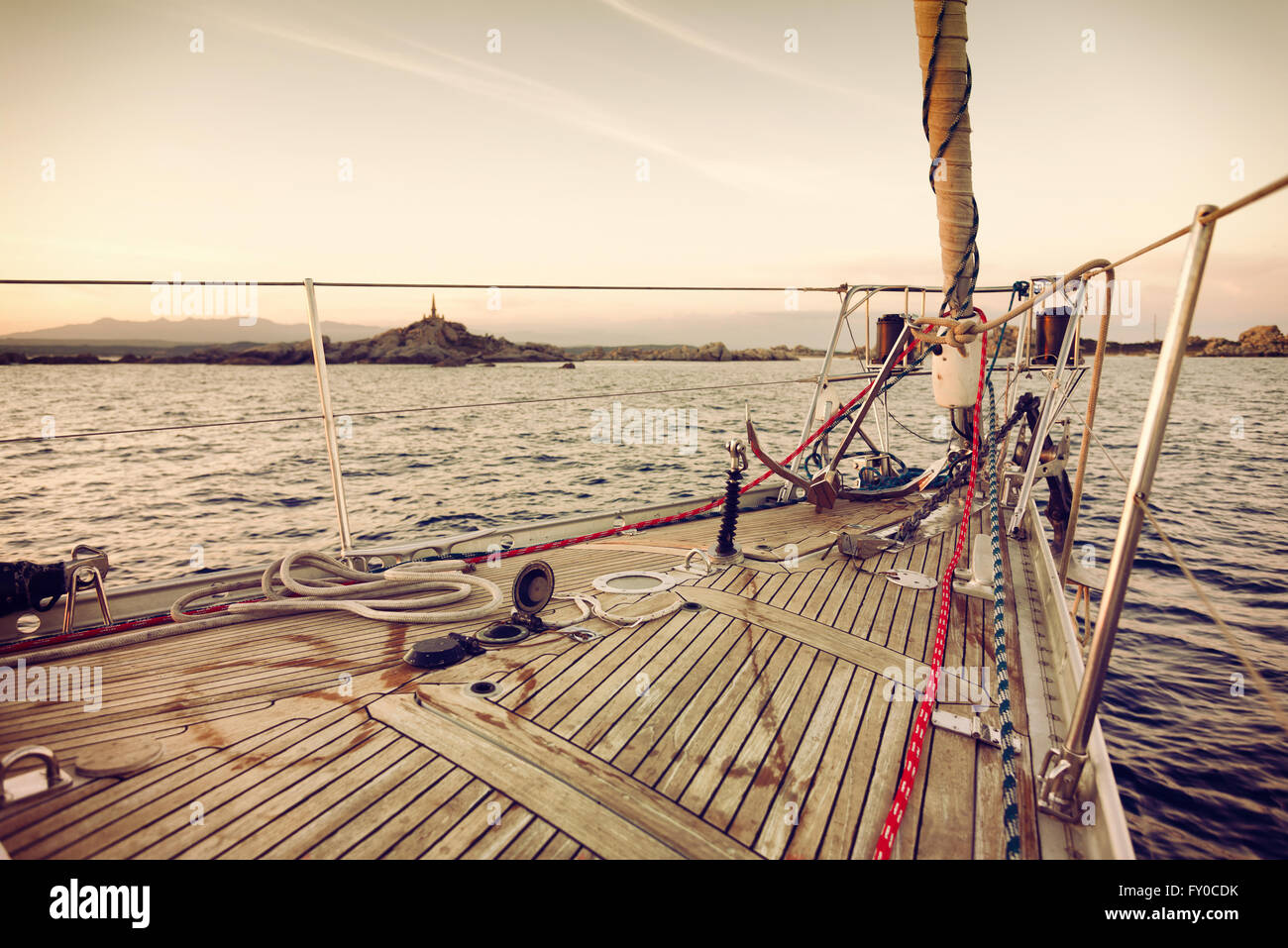 sail boat at sunset - Stock Image