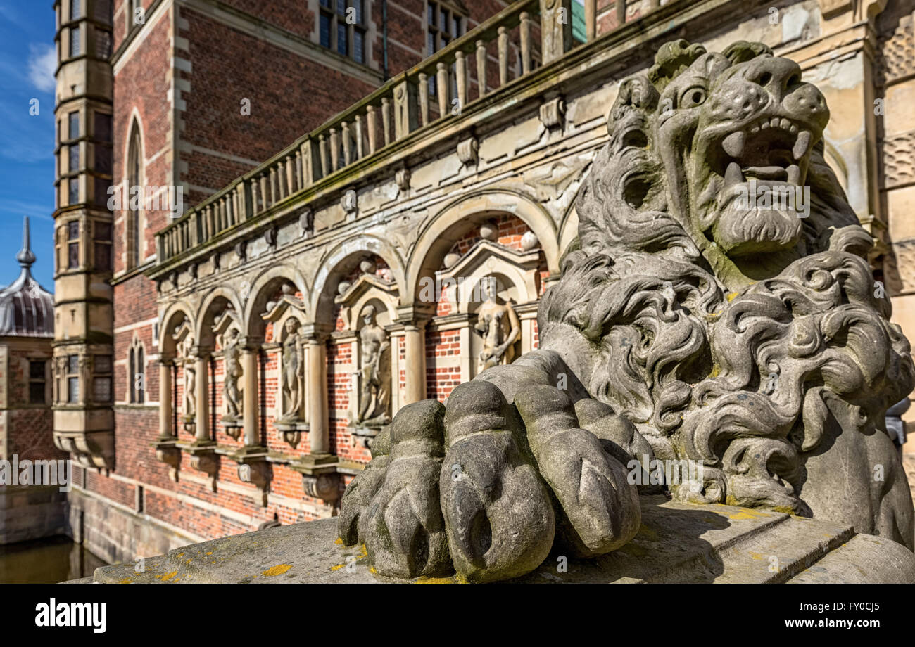 Lion carving at Frederiksborg Palace, Denmark - Stock Image