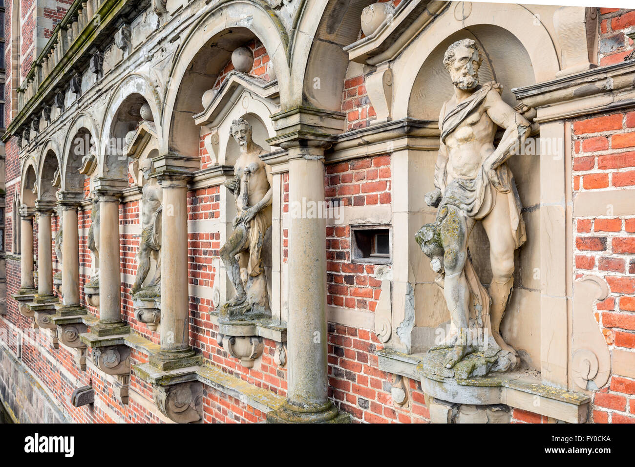 Details from the arcade, Frederiksborg Castle, Denmark - Stock Image
