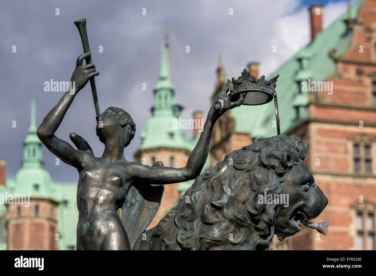 Naiad - details from Neptune Fountain, Frederiksborg palace, Hillerød, Denmark - Stock Image