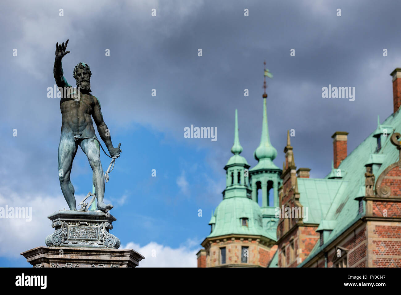 Neptune, Frederiksborg palace, Hillerød, Denmark - Stock Image