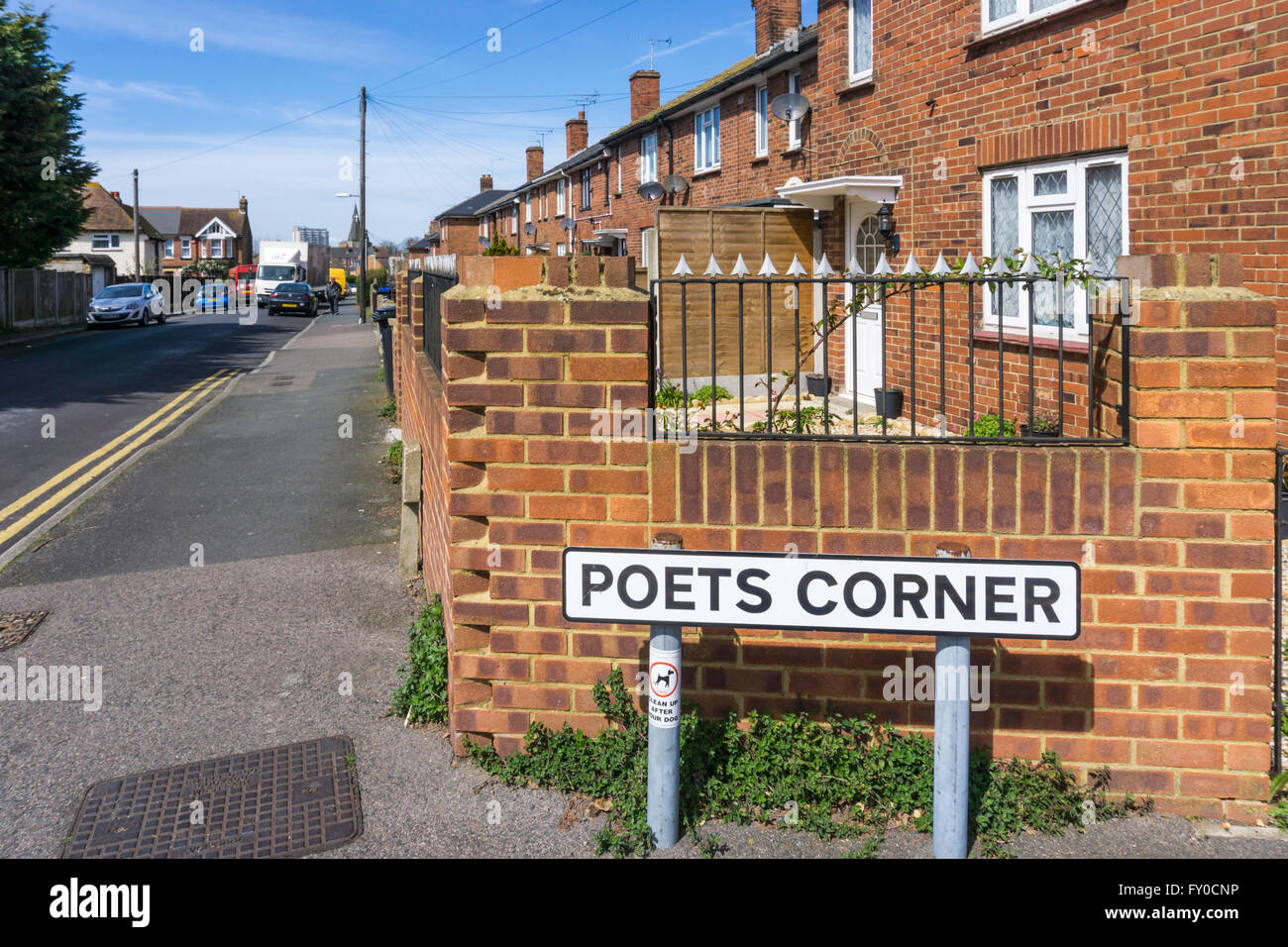 A sign for poets Corner in Margate, Kent. - Stock Image