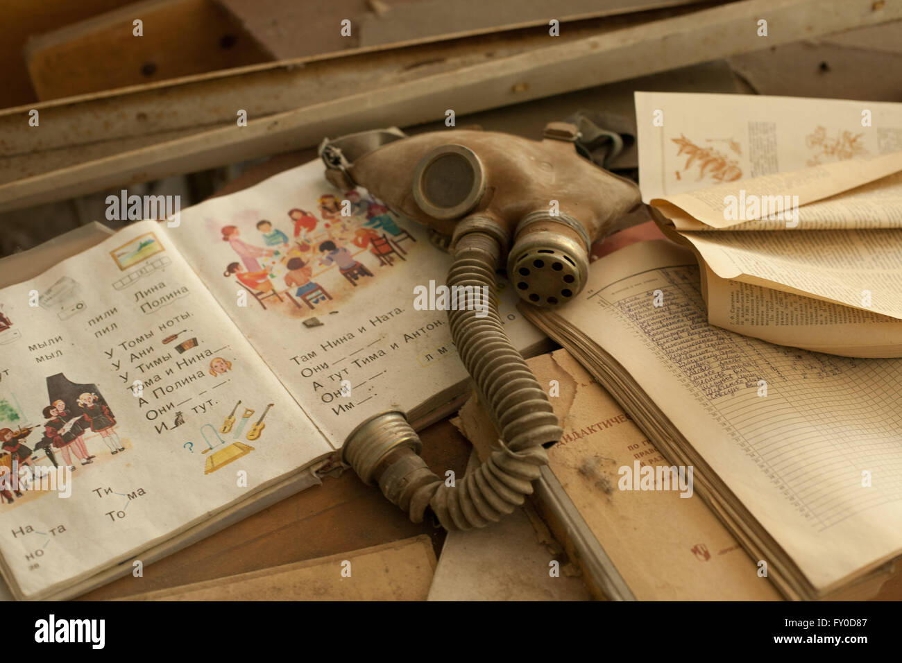 Gas masks in a school in Pripyat, the town next to Chernobyl - Stock Image