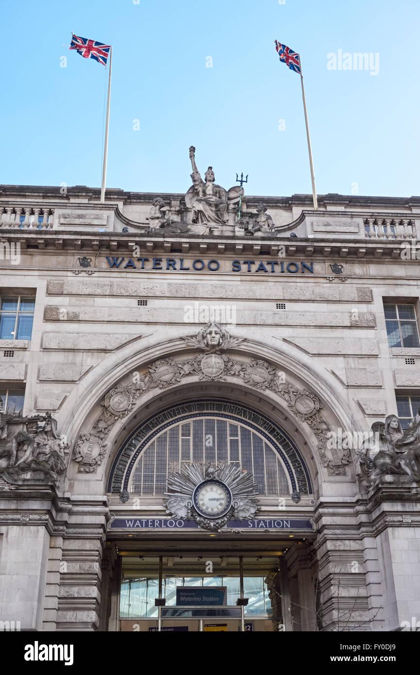 Entrance to the Waterloo railway station, London England United Kingdom UK - Stock Image