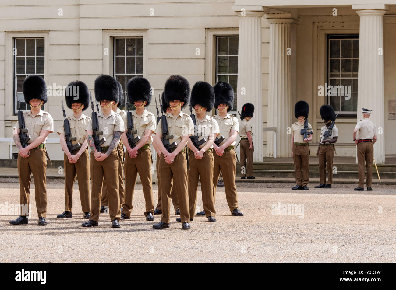 Guards rehearse in front of the Guards Museum, Birdcage Walk, London England United Kingdom UK Stock Photo