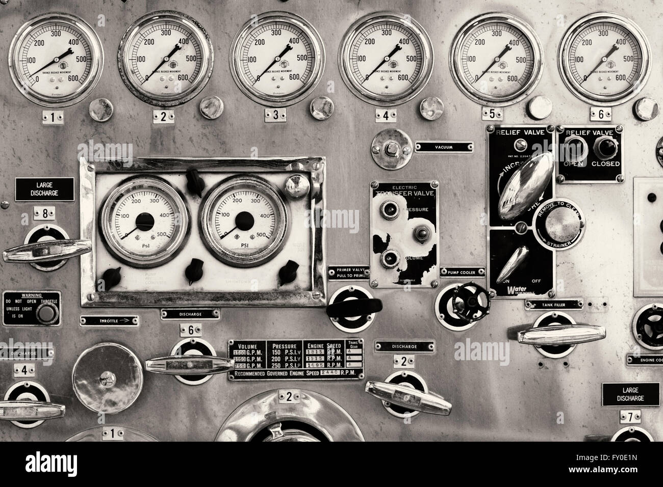 Detail photo of the instrument panel of an old firetruck displaying the various gages and levers . - Stock Image