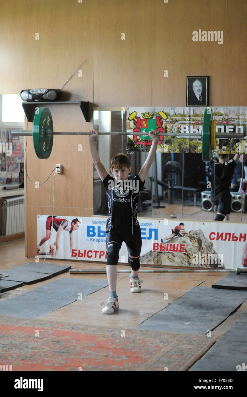 Kovrov, Russia. 17 May 2015. Weightlifting competitions - Stock Image