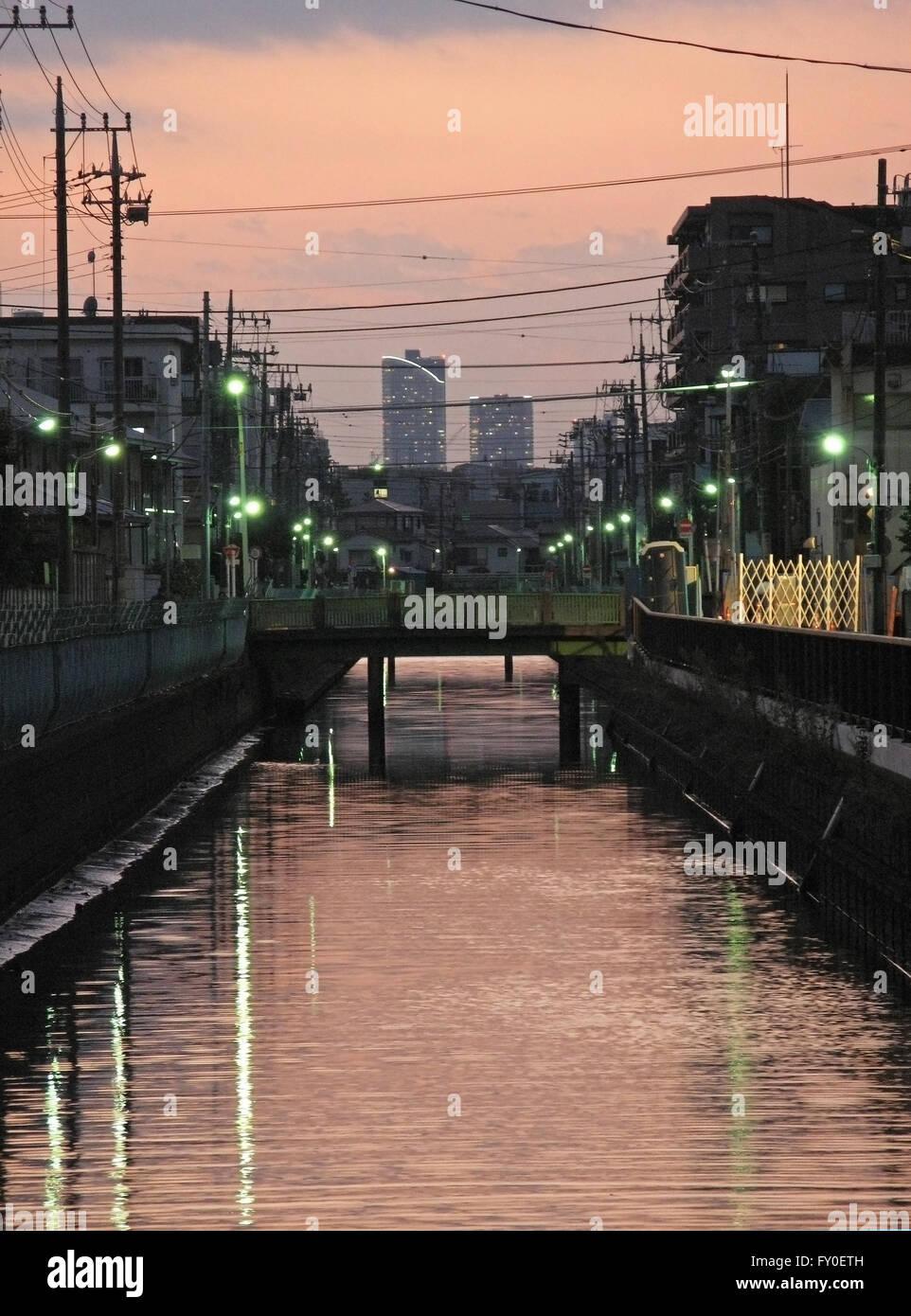 canal at dusk Tokyo Japan - Stock Image