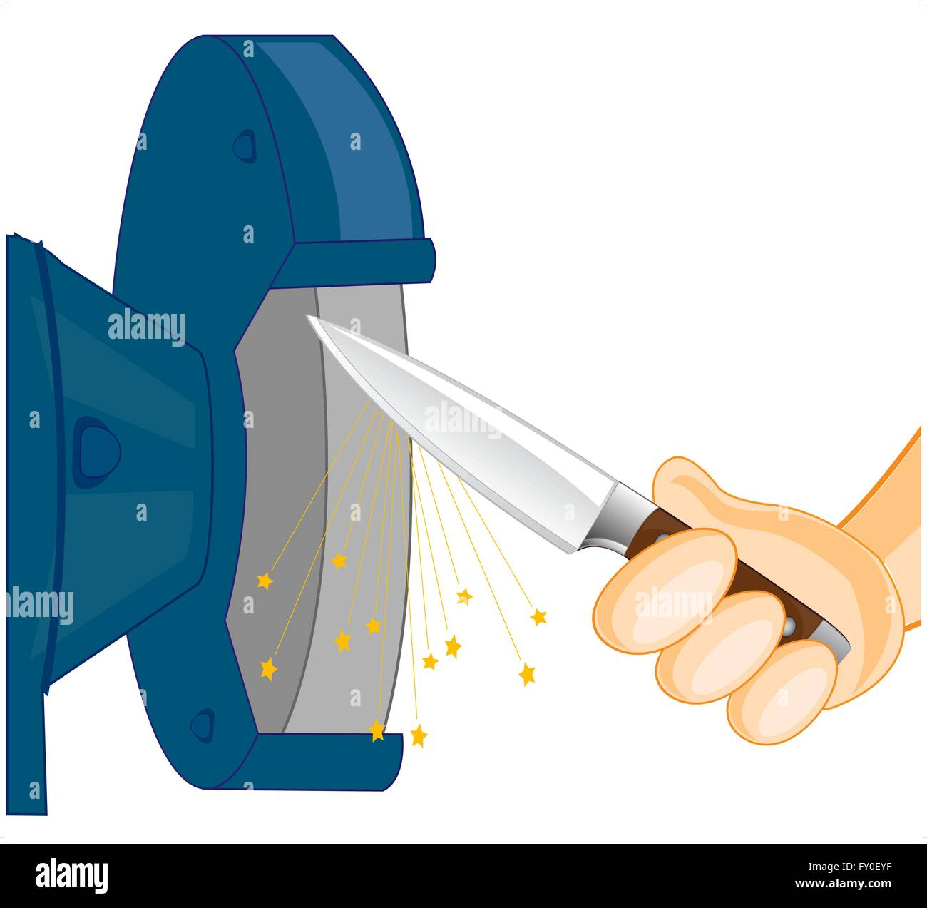 Sharpening the knife on tool - Stock Vector