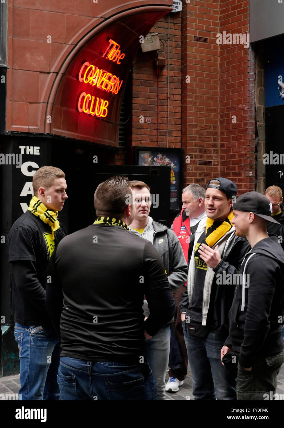 Liverpool UK 14 April 2016 Borussia Dortmund fans in Liverpool City Centre ahead ofthe  game against Liverpool at - Stock Image
