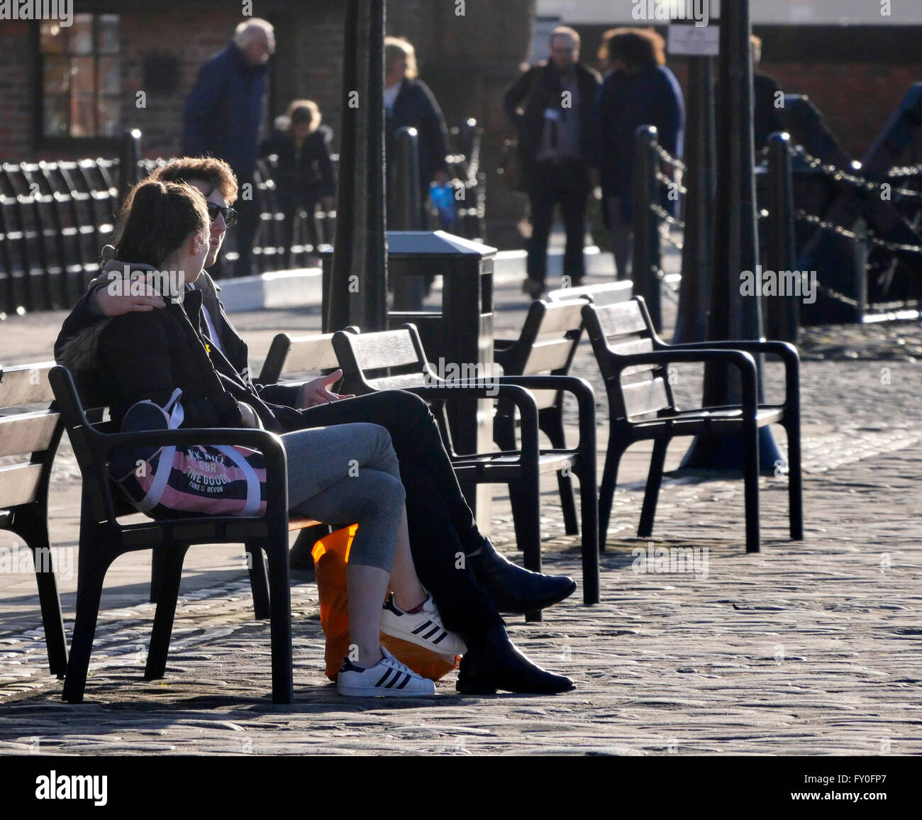 People at the Albert Dock in Liverpool.UK - Stock Image