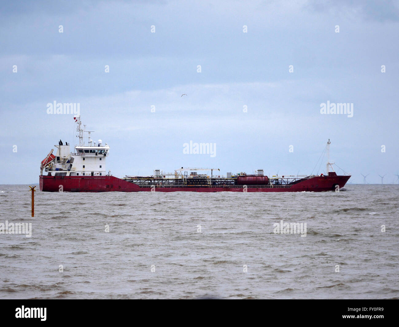 Shannon Fisher leaving the Port of Liverpool. Sailing past Burbo Bank near Crosby. Merseyside UK  Vessel SHANNON - Stock Image
