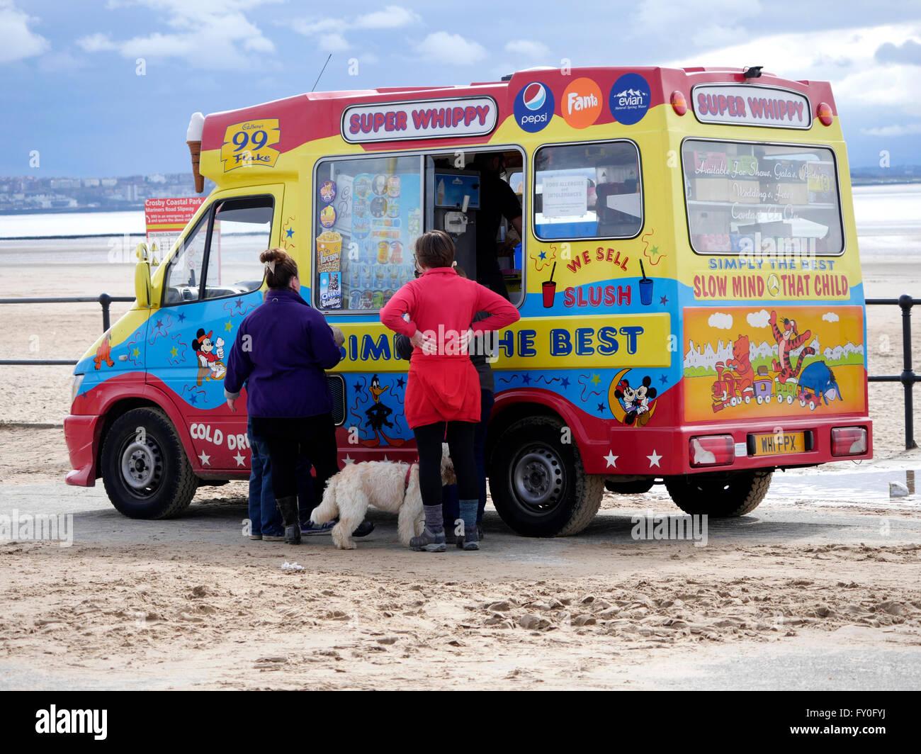 Ice-cream van on Crosby Beach. Merseyside UK - Stock Image