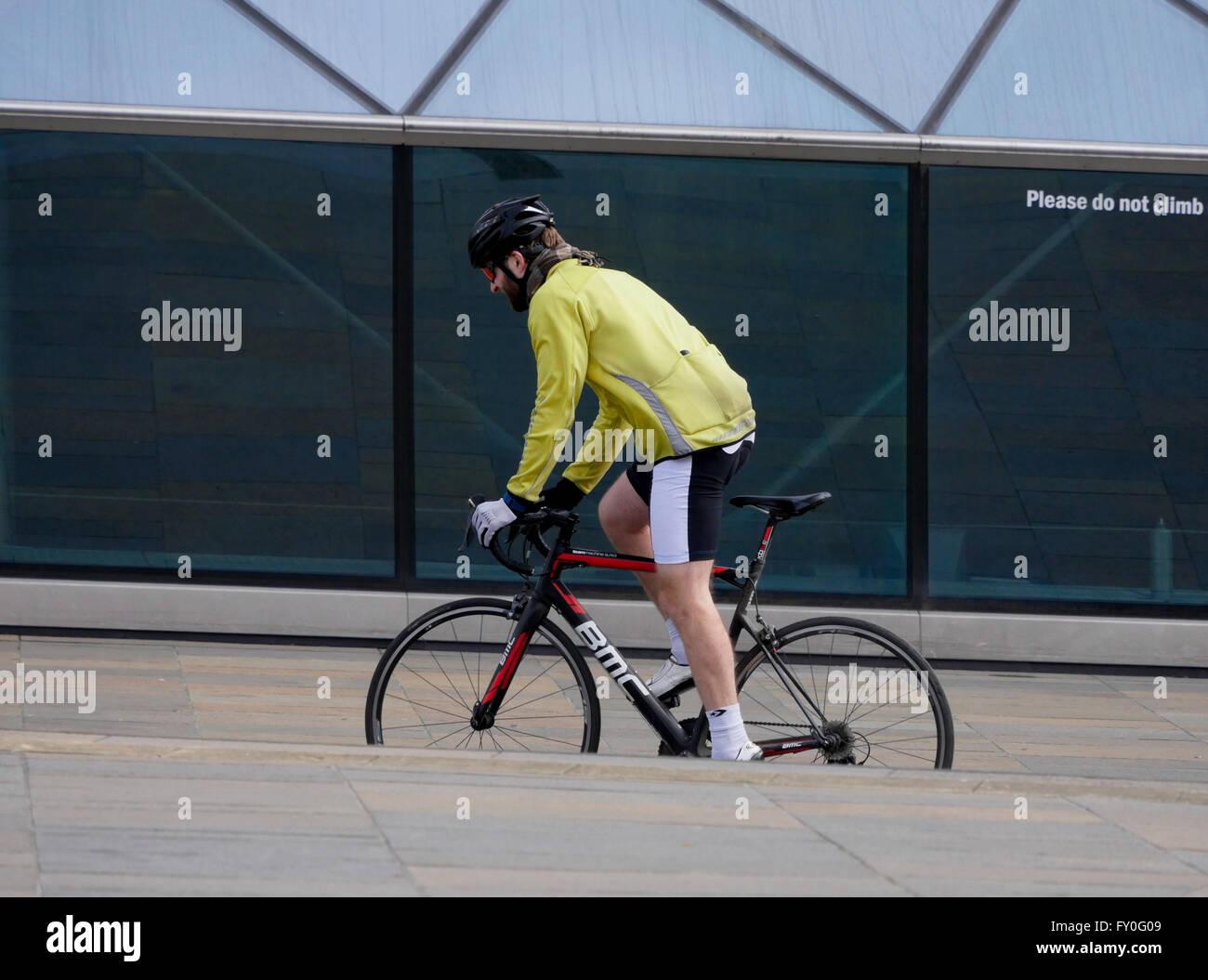 A cyclist enjoying a ride - Stock Image