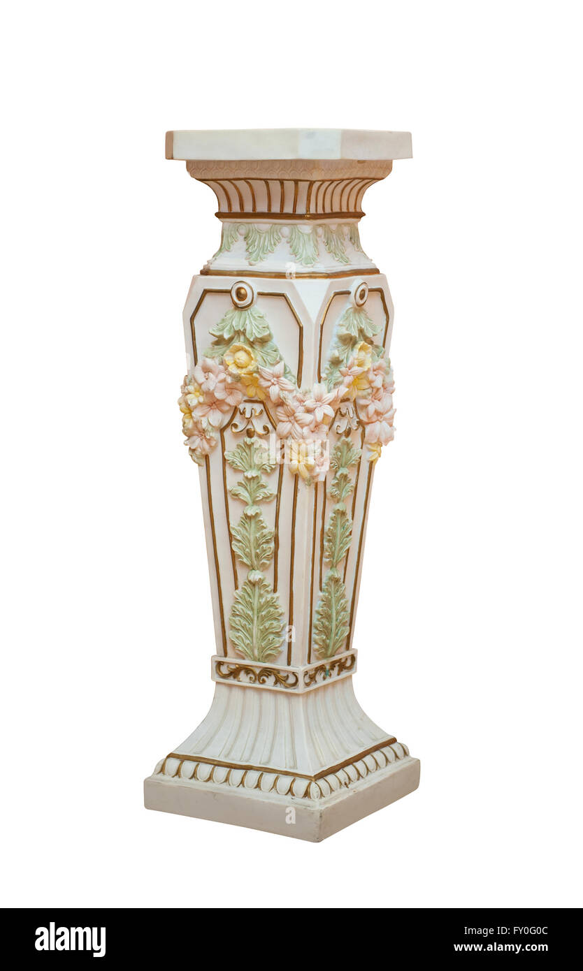 Large Antique Ceramic Floor Vase Isolated On White Background Stock