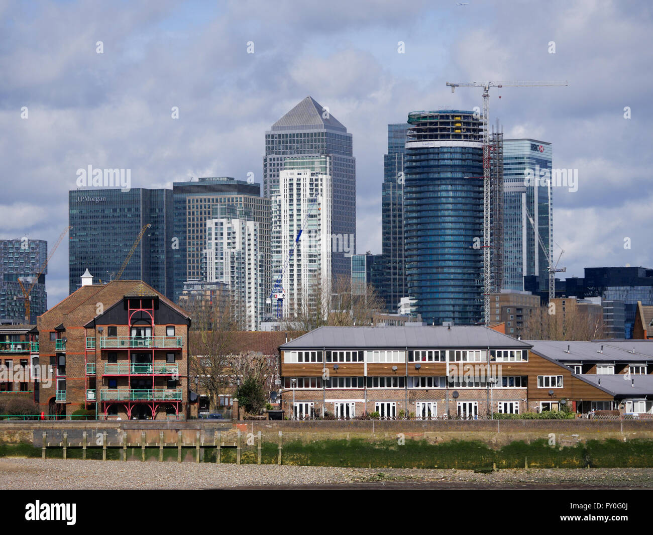 Skyline from Greenwich Park London - Stock Image
