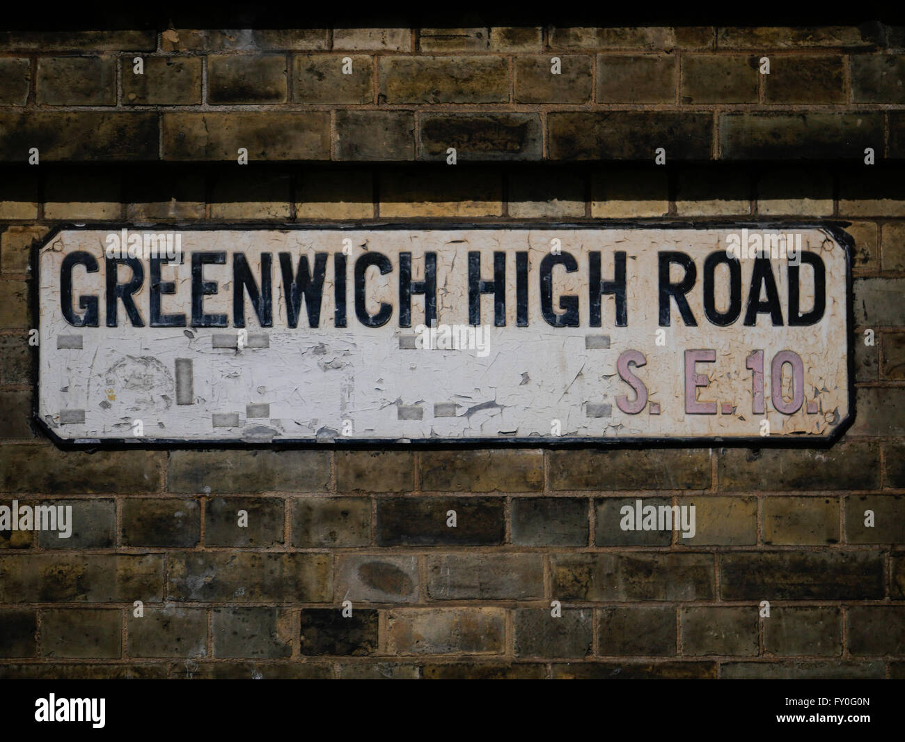 Greenwich High Road Street Sign - Stock Image