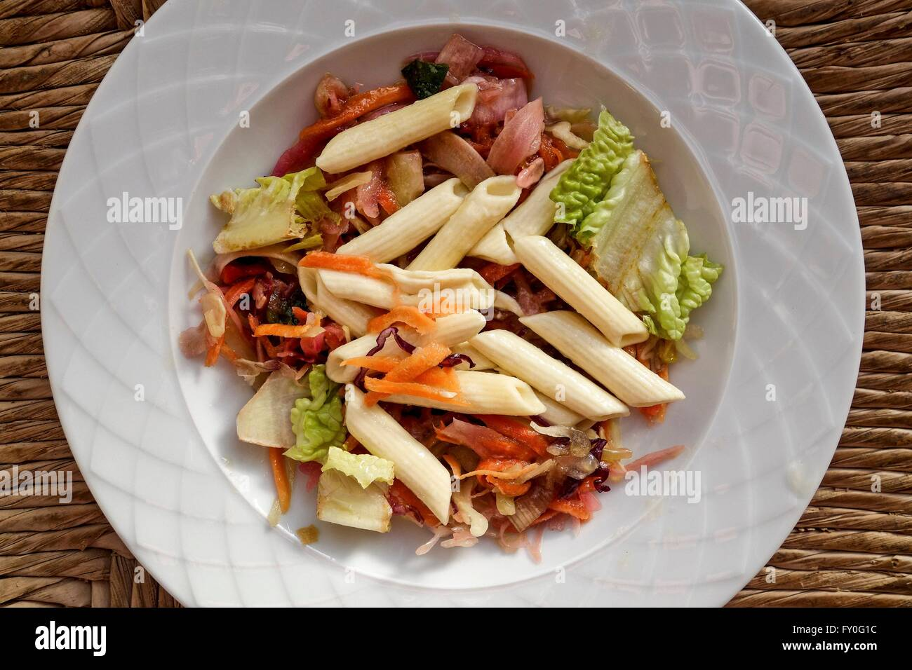 Chopped Mixed Vegetables and Penne Rigate Pasta Salad. - Stock Image