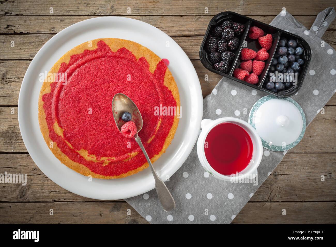Sponge Cake Moisten With Liquor Stock Photo