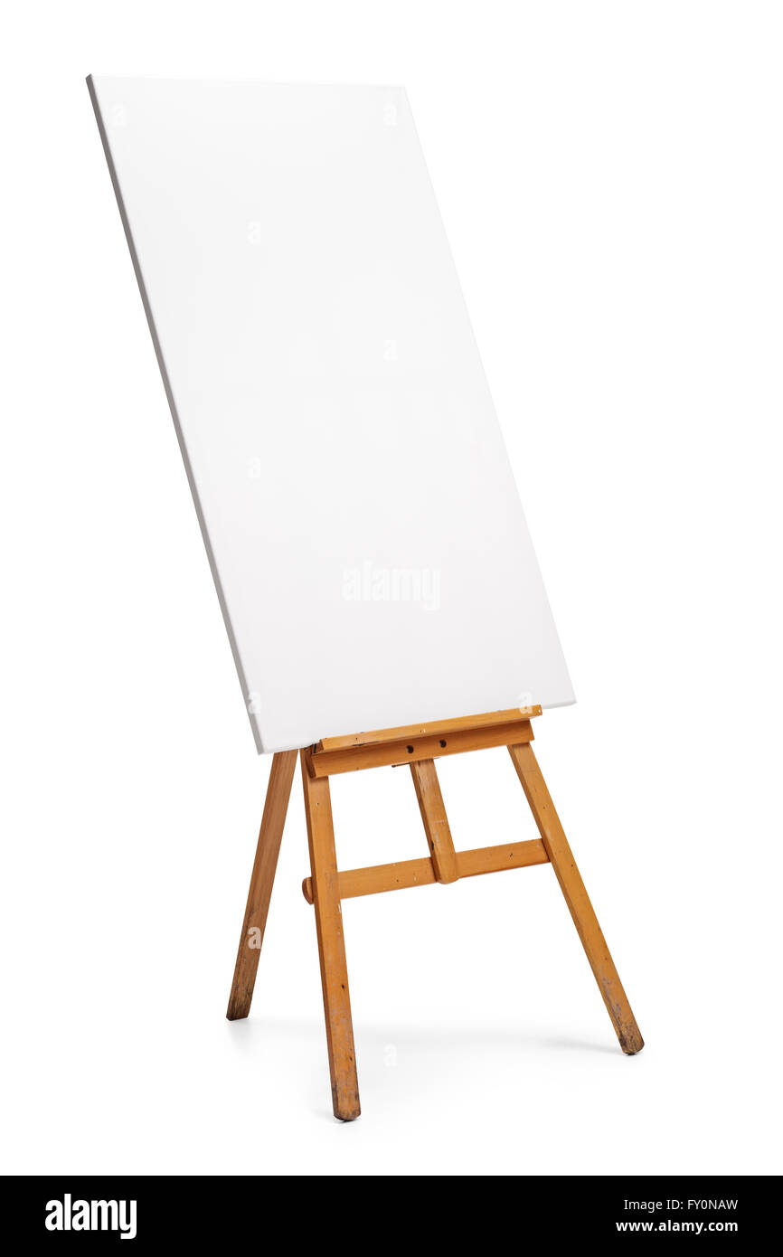 vertical shot of a blank canvas on an easel isolated on white stock