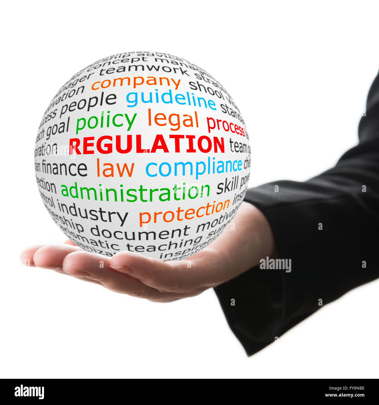 white ball in hand with red inscription regulation - Stock Image