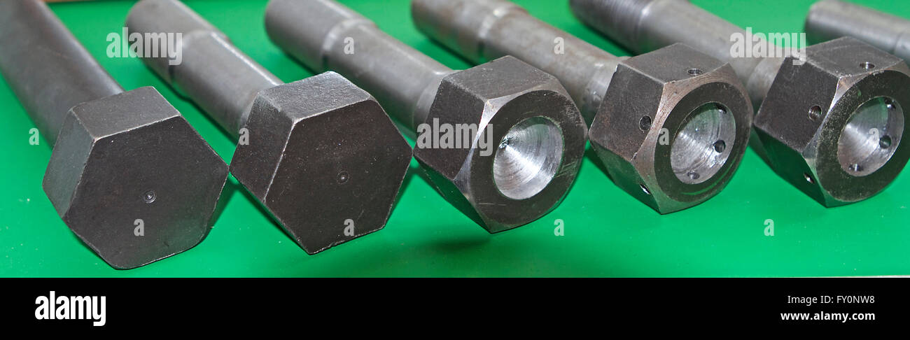 Set of hardware products with thread, fasteners Stock Photo