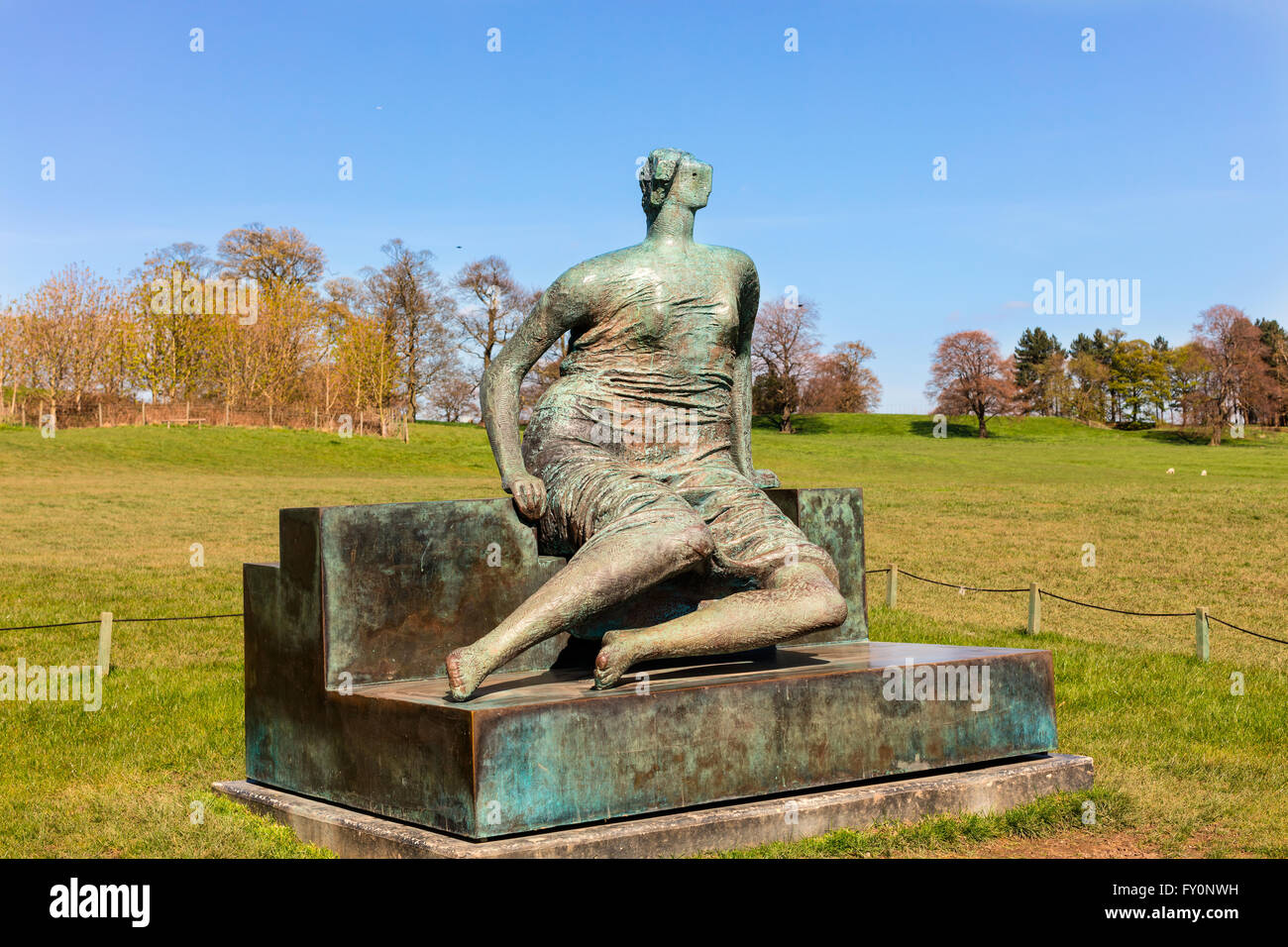Draped Seated Woman, c1957-58 bronze sculpture by Henry Moore in Yorkshire Sculpture Park. - Stock Image