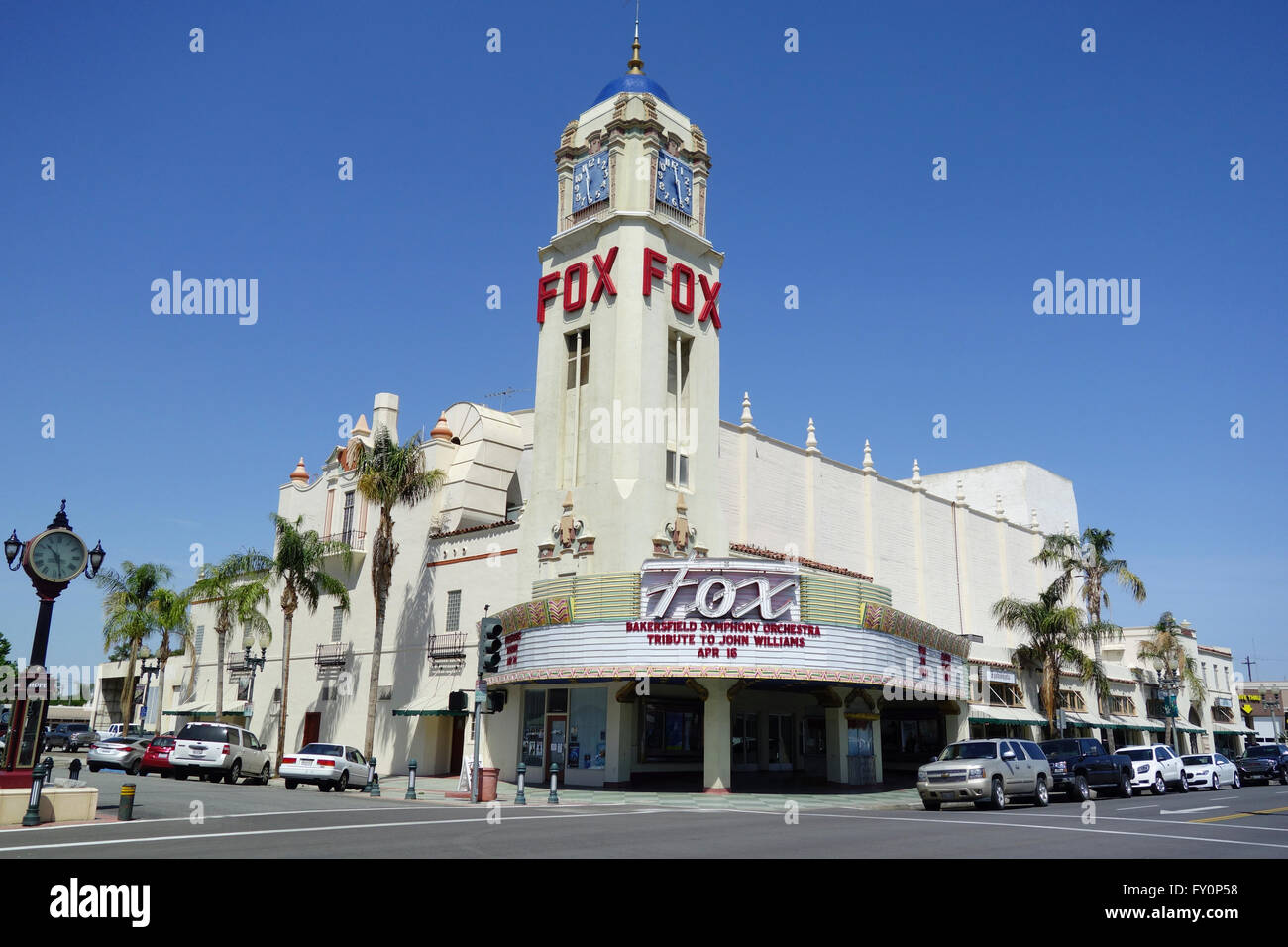historic Fox movie theater on street in downtown Bakersfield Southern California United States of America - Stock Image