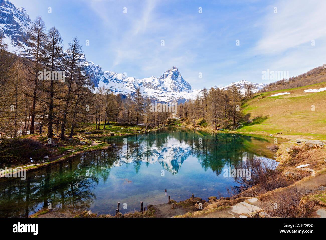 Matterhorn reflected in Blue Lake - Stock Image