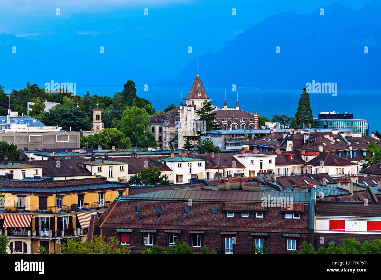 Lausanne architecture and Lake Geneva - Stock Image