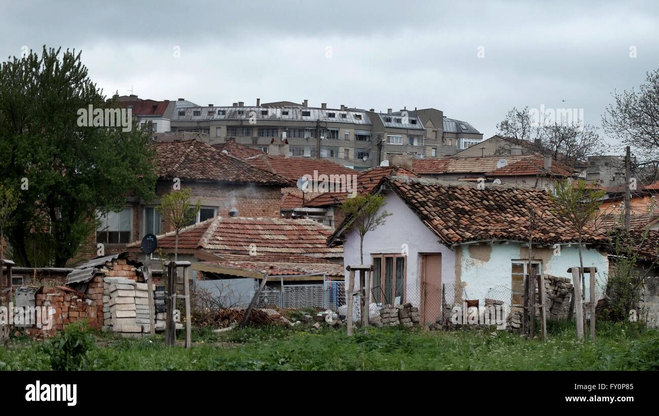The slum area of the city of Dobrich Bulgaria in Europe here many of the Roma community live - Stock Image