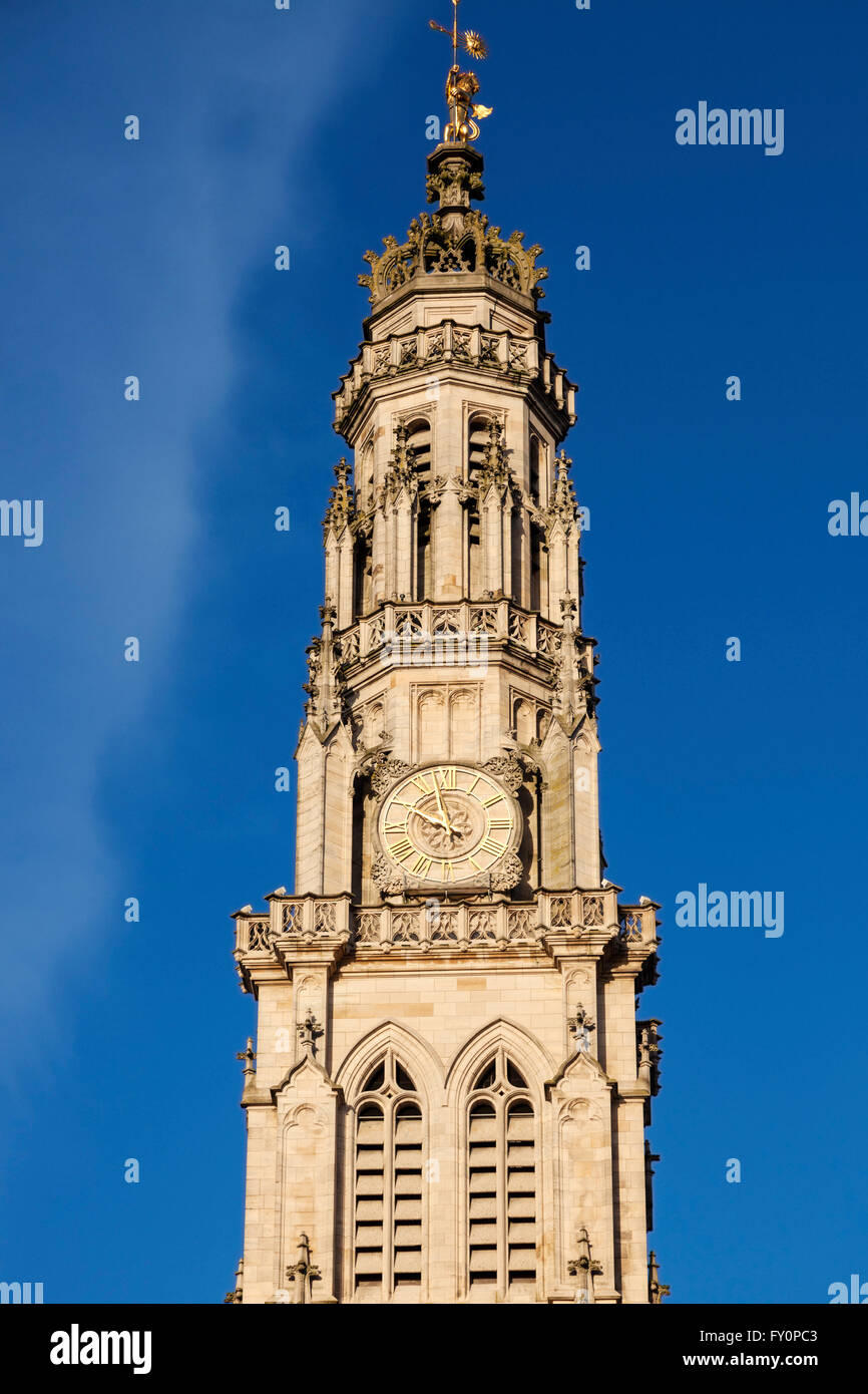 Arras Town Hall on Place des Heros - Stock Image