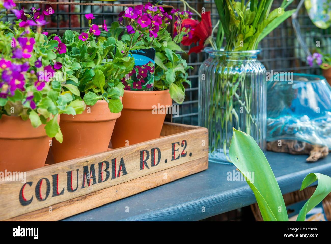 London, United Kingdom - April 17, 2016: Columbia Road Flower Sunday market. Shop windows display - Stock Image