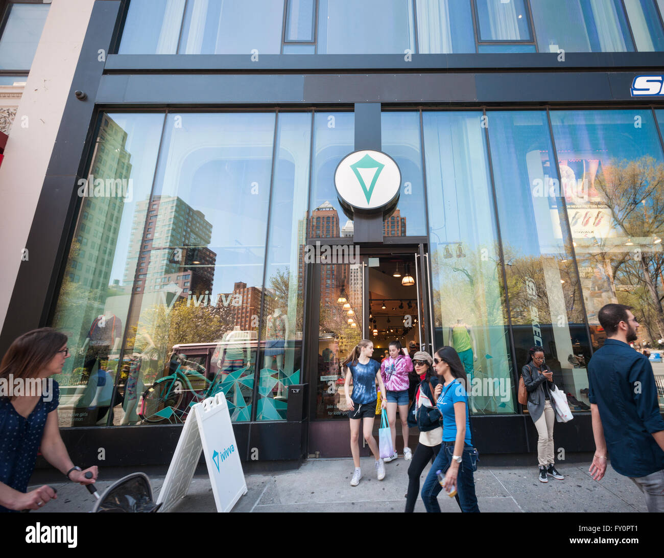 An Ivivva store, a brand of Lululemon Athletica geared toward young girls in Union Square in New York on Sunday, - Stock Image