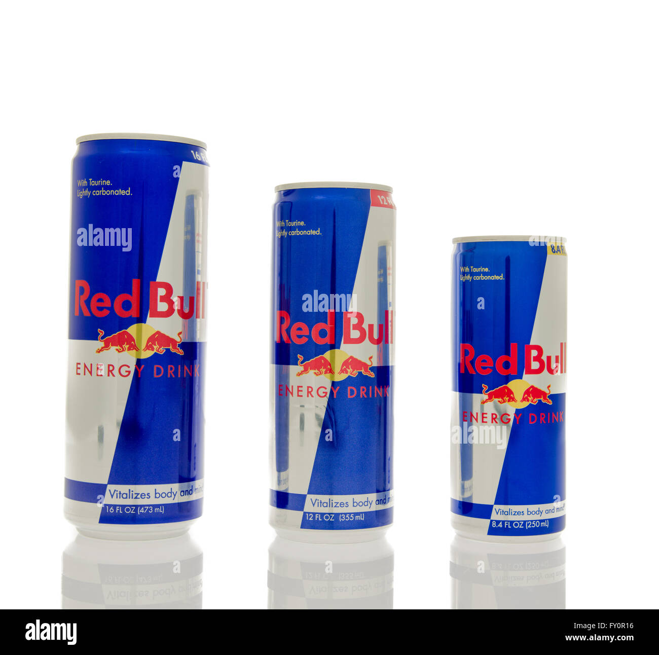 Winneconne Wi 14 March 2016 Three Different Sizes Of Red Bull Stock Photo Alamy