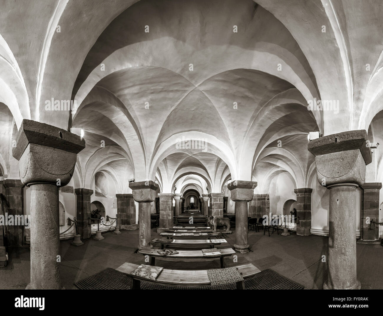 Majestic Medieval Cathedral Interior View Old Gothic Church In Andlau France
