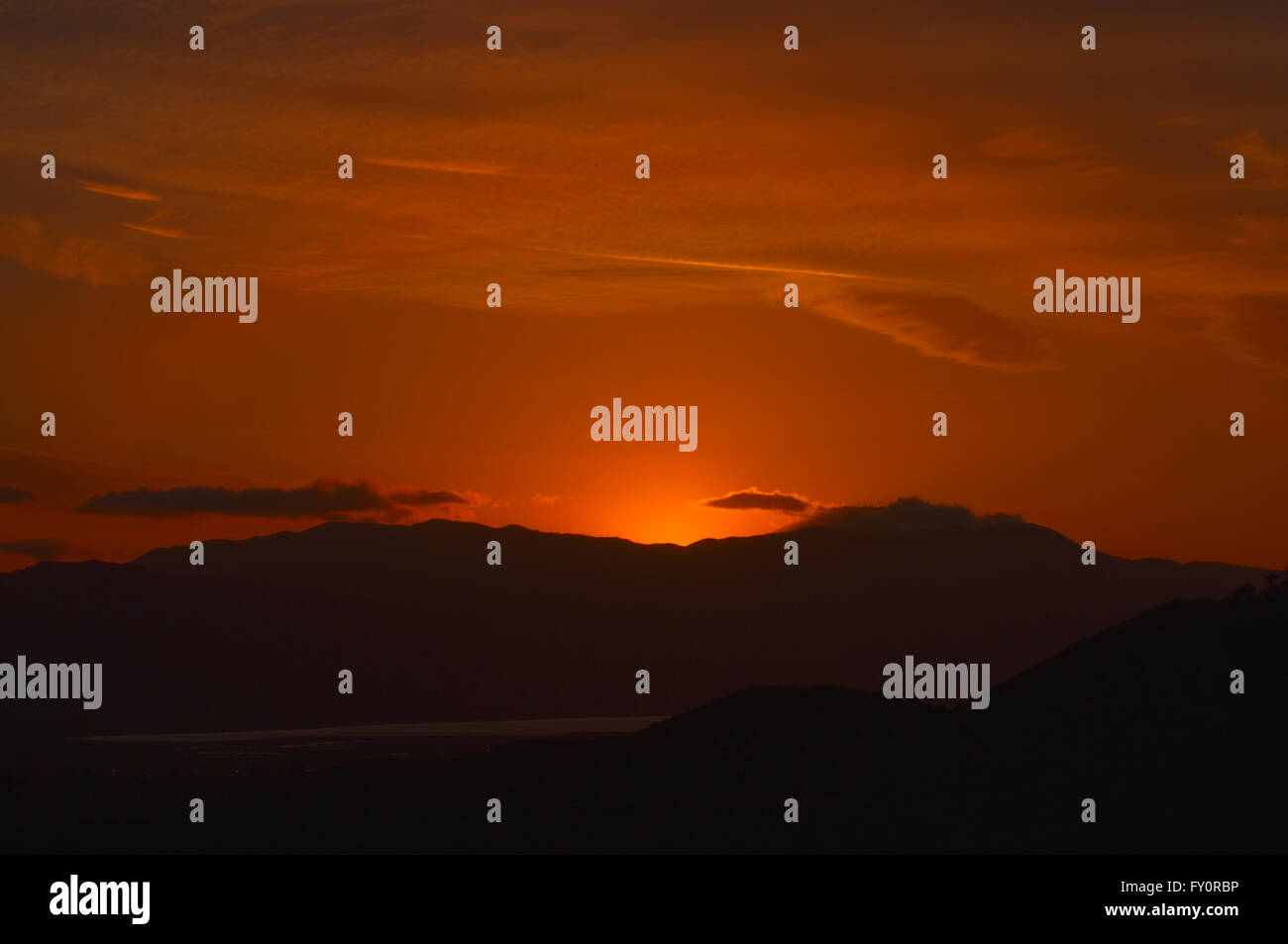 Orange Sunset, Lake Elsinore, California - Stock Image