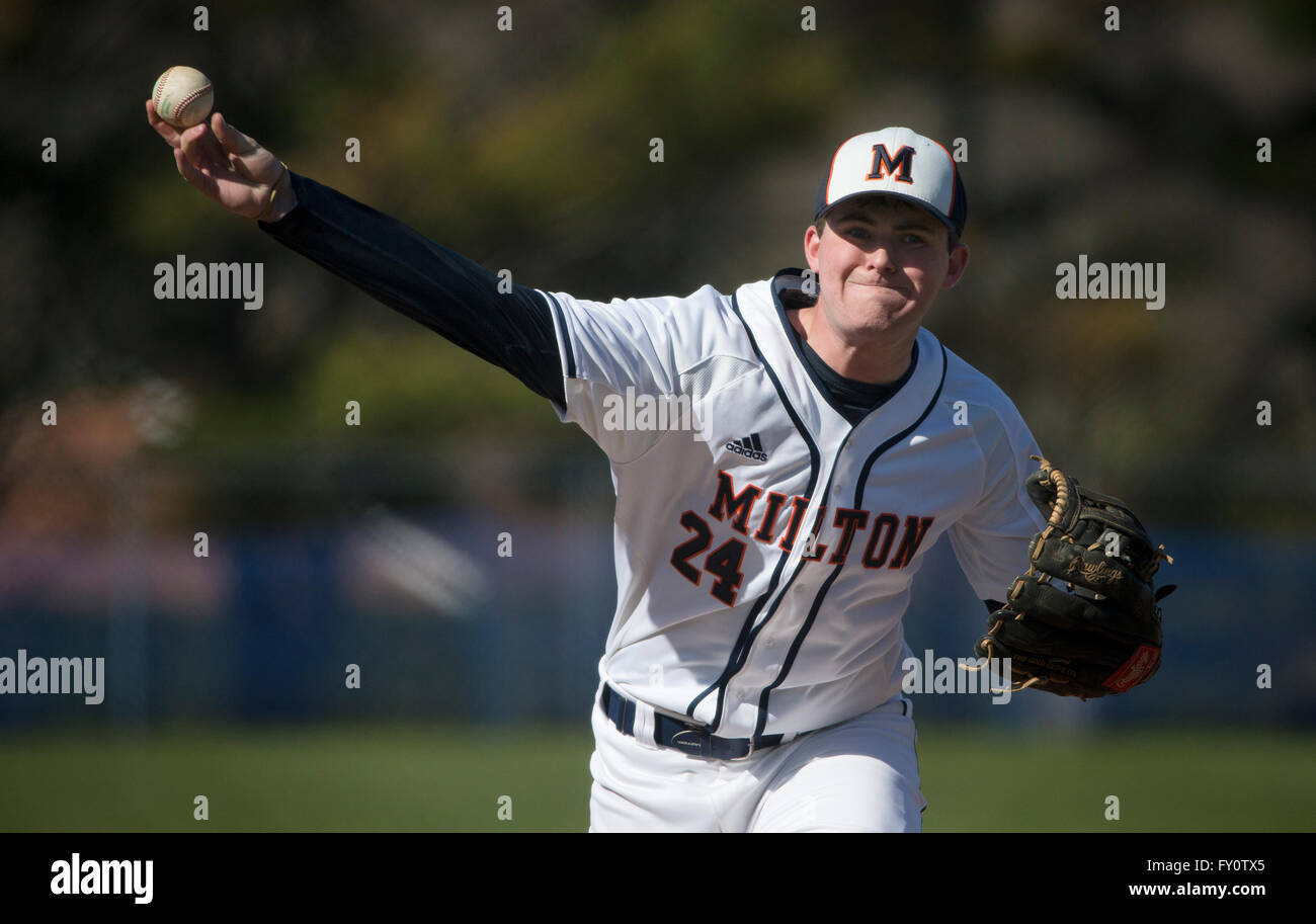 High school baseball pitcher - Stock Image