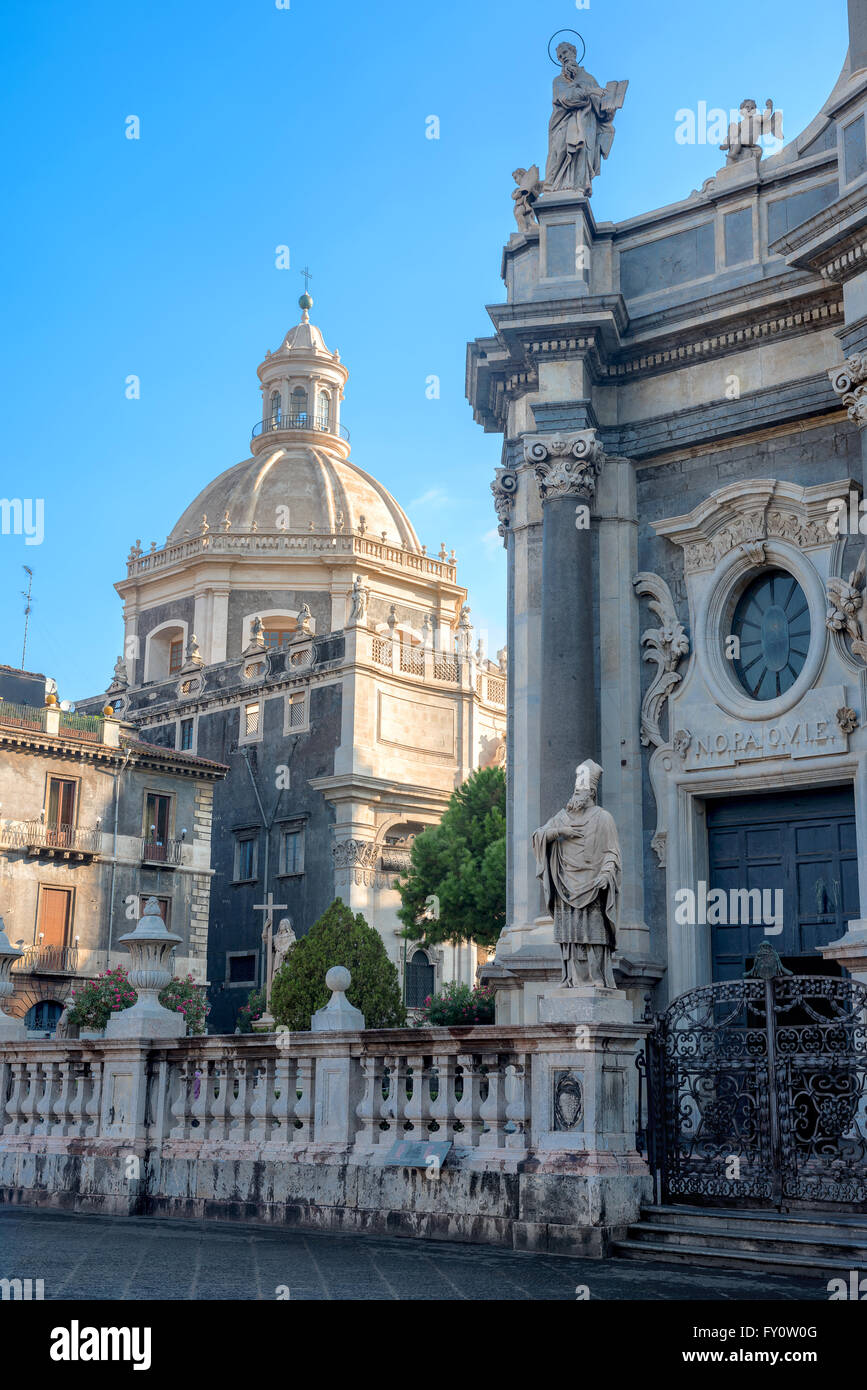 Cathedral of Saint Agata from Piazza Duomo, Catania, Sicily, Italy - Stock Image
