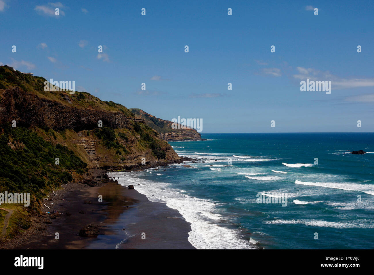 An overall view of Muriwai Beach near Auckland, New Zealand - Stock Image