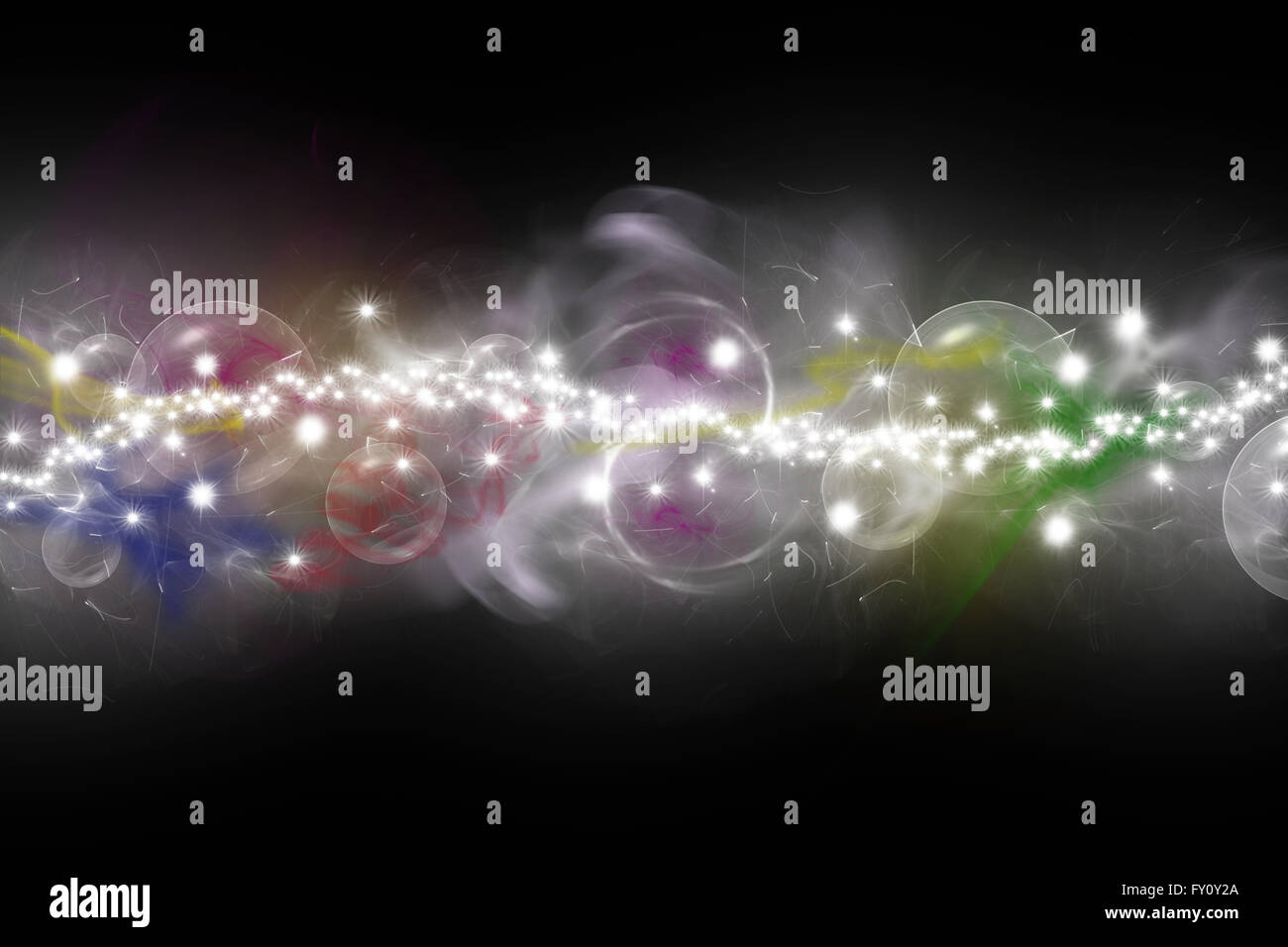 Abstract  composed of colored unfocused smoke, lights and objects on the black background. - Stock Image