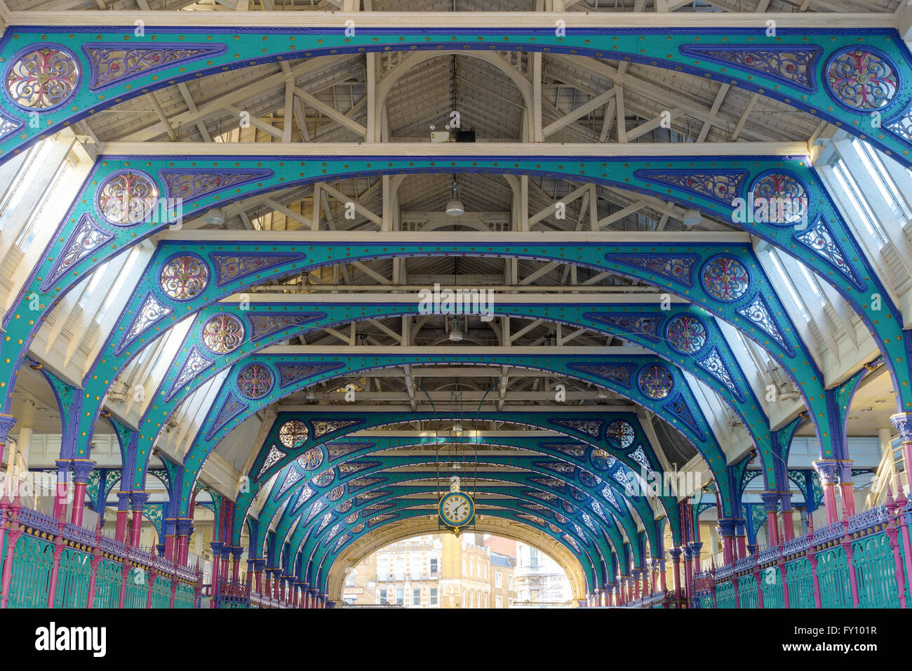 Symmetric arch of the Smithfield Market in London - Stock Image