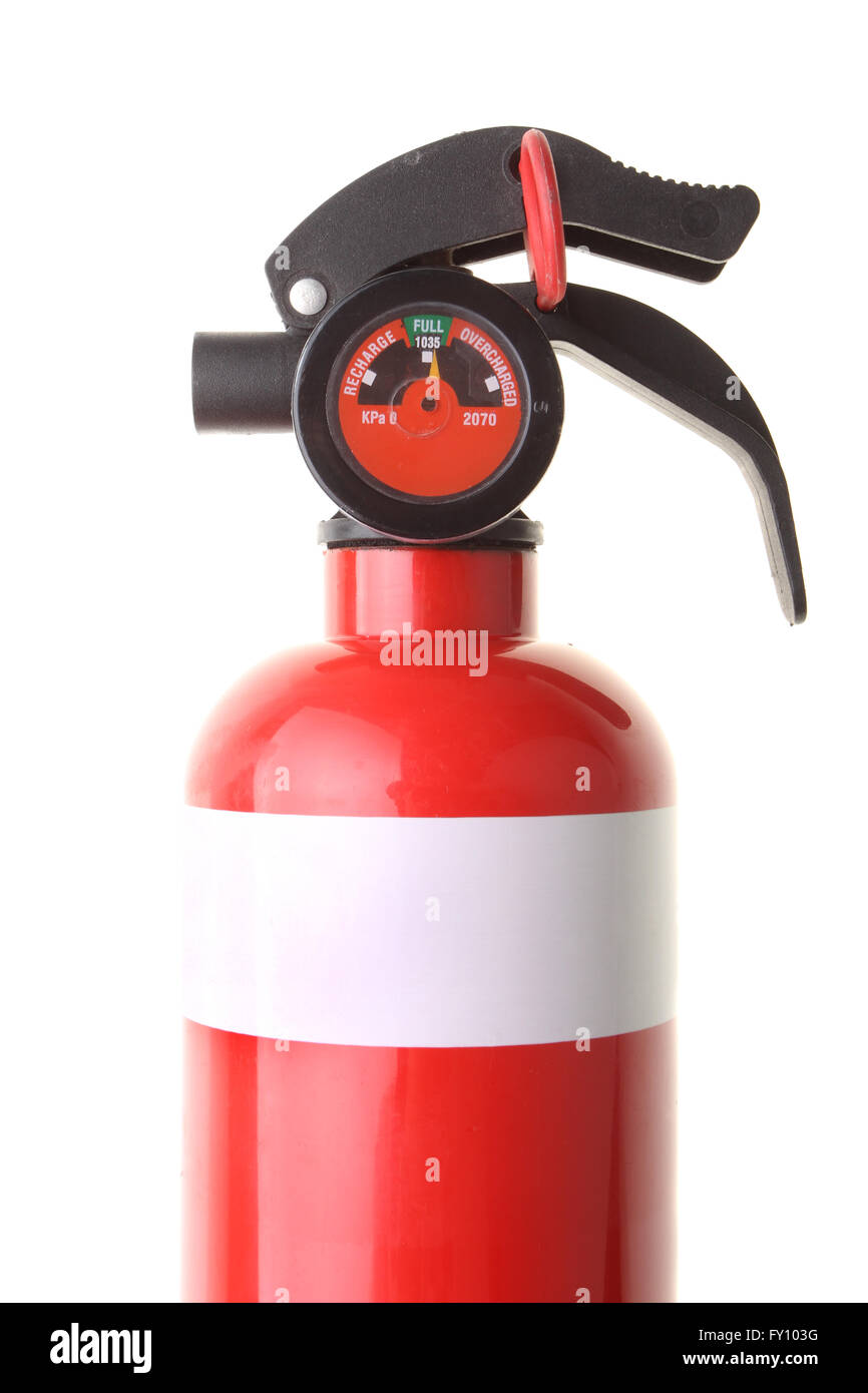 Red fire extinguisher showing correct pressure gauge isolated on white background. - Stock Image