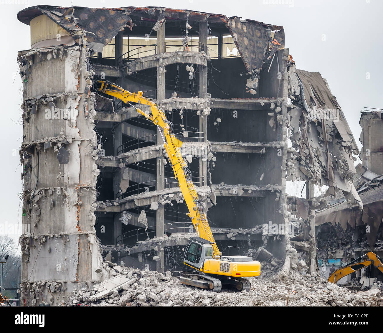 demolition of old industrial building - Stock Image