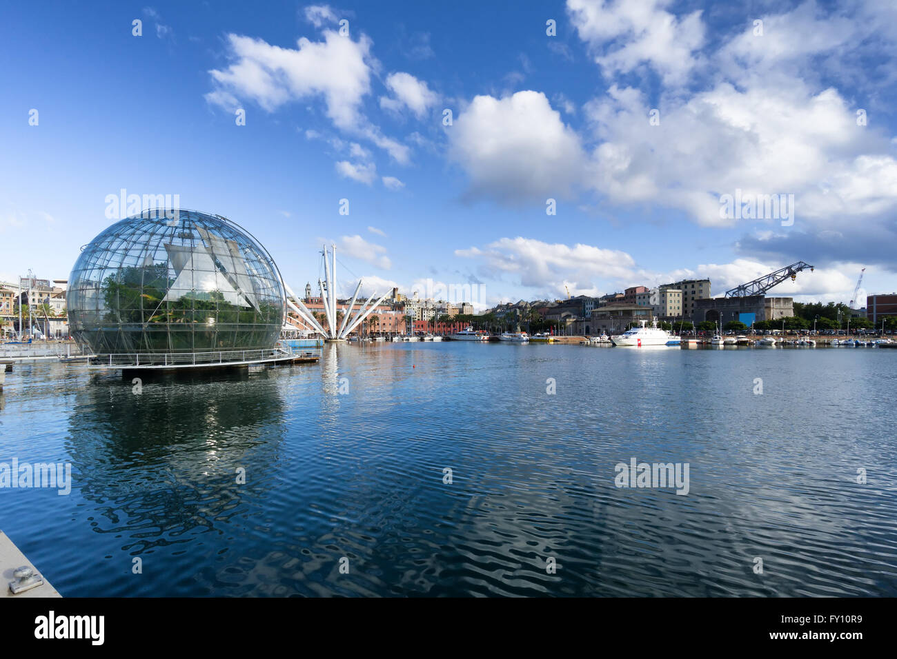 GENOA, ITALY - AUGUST, 23: The old harbor on August 23, 2014 in Genoa. The harbor of Genoa is the busiest port of - Stock Image