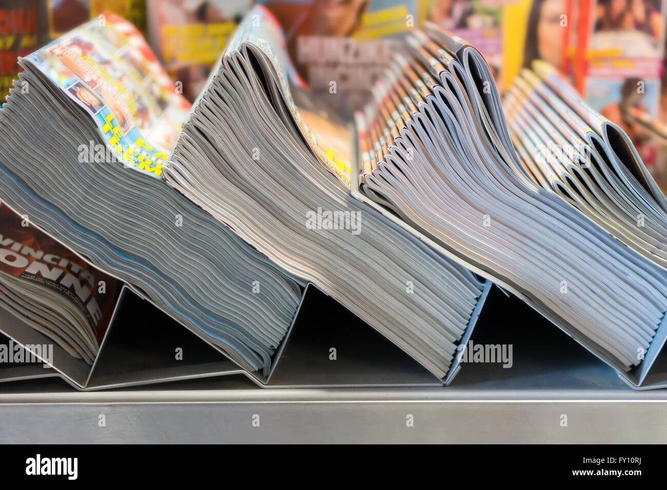 piles of magazines in the kiosk - Stock Image