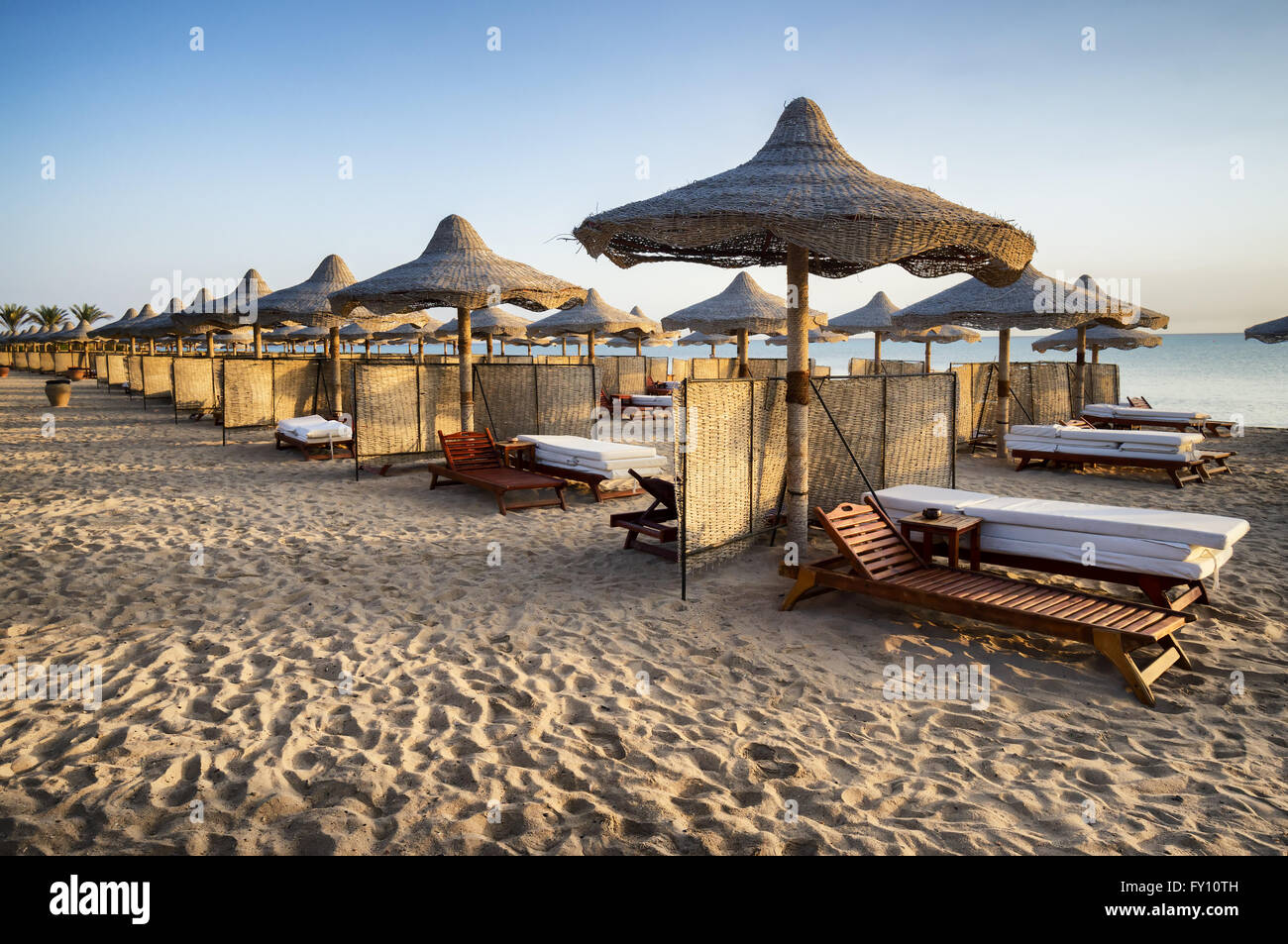 sunbeds and beach umbrella in Marsa Alam, Egypt - Stock Image