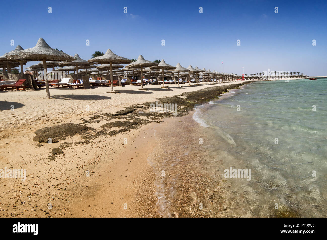 Marsa Alam beach with row of umbrella, Egypt - Stock Image